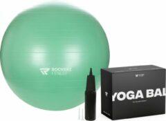 Rockerz Fitness Fitness bal - Yoga bal - Fitness bal 75 cm - Pilates bal - Gymbal - Gymbal 75 cm - Zitbal - Zwangerschapsbal - Kleur: Mintgroen - Beste Fitnessbal 2020