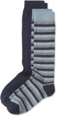 Hessnatur Kinder Kniestrümpfe aus Schurwolle mit Baumwolle – blau – Größe 35-38