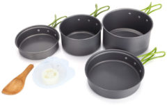 Meco Outdoor Portable 2-3 Persons Cooking Pot Bowl Pan Set Camping Picnic Tableware Cookware