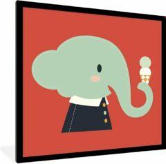 PosterMonkey Foto in lijst - Een cartoon illustratie van een baby olifant op een rode achtergrond fotolijst zwart 40x40 cm - Poster in lijst (Wanddecoratie woonkamer / slaapkamer)