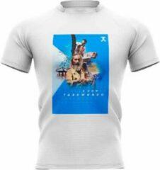 Trainingshirt JC Know Taekwondo | wit-blauw | 4/5 +/-128