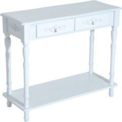 HOMCOM Konsolentisch Konsole Beistelltisch Flur Pappelholz Weiß Flurkommode Beistelltisch Wohmzimmertisch Tisch