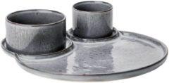 Grijze Cosy&Trendy Emma Dark Grey Bord 3 Vak D32cm Met2 Kommetjes D8xh6cm - D11xh6cm (set van 2) En Yourkitchen E-kookboek - Heerlijke Smulrecepten