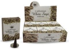 Bruine Green Tree Candle Company Californian white sage (kegelwierook) Witte Salie 1 pakje a 10 kegeltjes