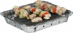 Zilveren Relaxdays wegwerp BBQ - wegwerpbarbecue - gebruiksklaar 500 gram kolen - instant barbecue