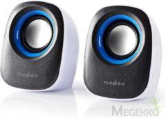 Blauwe Nedis PC speaker | 2.0 | 12 W | 3.5mm Jack | White / Blue