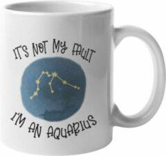 Witte MagicDAT Mok Aquarius Is niet mijn schuld cadeau voor waterman, horoscoop, zodiac, sterrenbeeld
