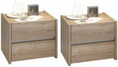 Pesaro Mobilia Nachtkastje Set Amalti mantova 42 cm hoog in stelvio walnoot