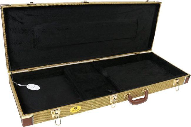 Afbeelding van Heeft u bijvoorbeeld meerdere elektrische solidbody gitaren met een gangbare vorm en lengte en zoekt u een universele gitaarkoffer met een stijlvolle tweed-afwerking? Dan biedt Fazley u de GC 600 scherp geprijsde koffer.
