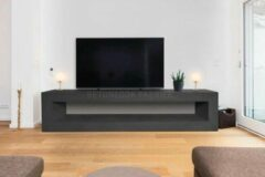 Zwarte Betonlook TV-Meubel open vak | Black Steel | 140x40x40 cm (LxBxH) | Betonlook Fabriek | Beton ciré