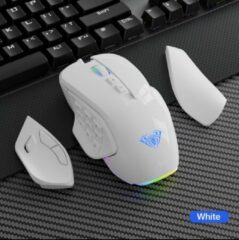 Unbranded AULA RGB-gamingmuis met zijknoppen macro-programmering 10000 DPI instelbare 14 toetsen bedrade USB-achtergrondverlichting Wit