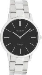 OOZOO C20031 Horloge Vintage staal zilverkleurig-zwart 38 mm