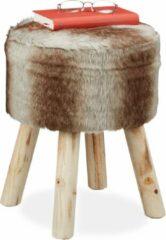 Bruine Relaxdays krukje met vacht - op poten - klein voetenbankje - ronde hocker - kruk - zacht
