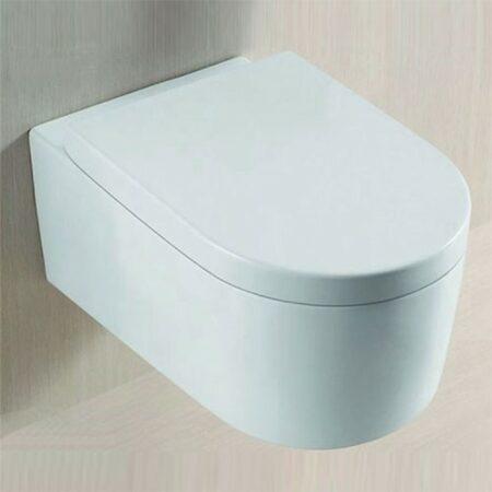 Afbeelding van Douche Concurrent Toiletpot Hangend Jinny 55x36x34,5cm Wandcloset Keramiek Diepspoel Nano Coating EasyClean Glans Wit met Softclose Toiletbril