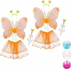 Oranje Relaxdays 2 x fee kostuum kinderen - vlindervleugels - kinderkostuum - toverstaf – diadeem