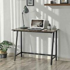 Bruine Furnihaus - Computertafel - Bureau - Industrieel - Hout - Metaal - 100x50x75cm