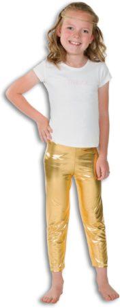 Afbeelding van Fashion4fun Glitter & Glamour Kostuum | Gouden Glitter Legging Disco Prinses Meisje | Maat 116 | Carnaval kostuum | Verkleedkleding