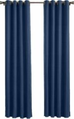 Larson - Luxe Hotel Serie Blackout Gordijn - Visgraat motief - Ringen - Donkerblauw - 150 x 250 cm - Verduisterend & kant en klaar