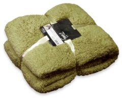 Unique Living Teddy fleece plaid - 100% polyester, Fleece polyester - 150x200 cm - Groen