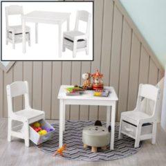 Kindertafel met stoeltjes van hout – 1 tafel en 2 stoelen voor kinderen - Wit - Kleurtafel / speeltafel / knutseltafel / tekentafel / zitgroep set / Kinderzetel / Kinder speeltafel met 2 stoelen voor uw Kind - Decopatent®