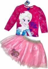 Disney Frozen set longsleeve + rok met tule roze/fuchsia maat 98/104