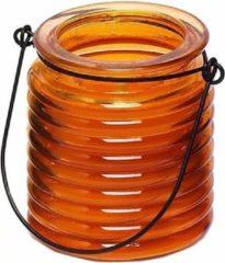 1x Citronellakaarsen in oranje geribbeld glas 7,5 cm - Insecten verjagen - Geurkaarsen