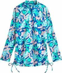 Coolibar - UV Zwemshirt voor meisjes - Longsleeve - Lawai Ruche - Marlijn Blauw/Bloemen - maat M (122-134cm)