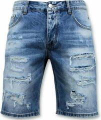 Enos Korte Broek Heren - Ripped Short - 9073 - Blauw Heren Jeans W30