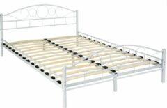 Witte Tectake Bedframe metalen bed frame met lattenbodem 200*140 cm 401725