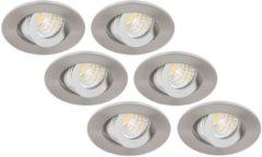 Roestvrijstalen Groenovatie Inbouwspot LED - 3W - Rond - Kantelbaar - Dimbaar - Ø 53 mm - 6-Pack