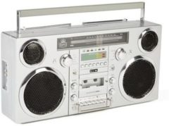 Zilveren GPO Retro GPO BROOKLYN Ghettoblaster bluetooth, CD, cassette, USB en DAB+ radio
