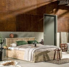 Naturelkleurige Livengo Steigerhouten bed Modern 140 cm x 200 cm