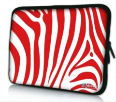 Sleevy 10 laptop/tablet hoes rode zebraprint - tabletsleeve - tablet sleeve - ipad sleeve