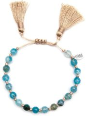 Beige CO88 Collection Serenity 8CB 80036 Armband met Tassel - Agaat Natuursteen 6 mm - One-size - Blauw