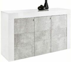 Pesaro Mobilia Dressoir Easy 138 cm breed - Hoogglans wit met grijs beton