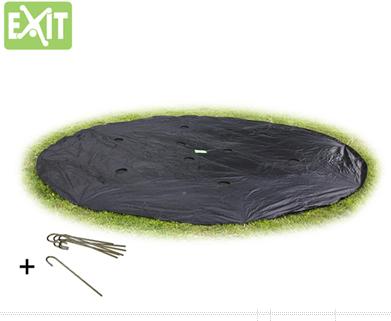 Afbeelding van Zwarte EXIT Afdekzeil Ø: 366 cm, voor trampoline Supreme Ground Level rond