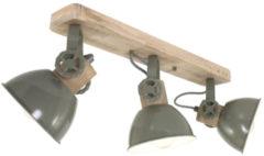 Mexlite Gearwood plafondlamp | 3 spots | kantelbaar / draaibaar | hout met groen