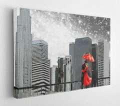 Onlinecanvas Fantasy illustration with milky way, stars. Landscape view of the city area. I'm painting New York. Skyscrapers and sky. Man and woman under a red umbrella - Modern Art Canvas - Horizontal - 635635619 - 80*60 Horizontal