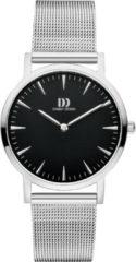Zilveren Danish Design watches edelstalen dameshorloge London Black Silver Medium Mesh IV63Q1235