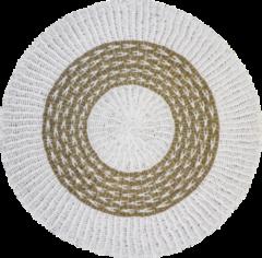 Naturelkleurige HSM Collection Vloerkleed - ø120 cm - raffia/zeegras - wit/naturel