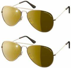 Eagle Eyes Aviator glasses, set van 2 – goud – piloten zonnenbril