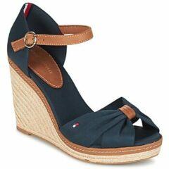 Bruine Tommy Hilfiger - Iconic Elena sandalen met sleehak - donkerblauw - FW0FW00905 - maat 41