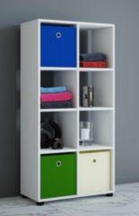 Badregal Raumteiler Badschrank Badmöbel Regal Hochschrank 'Benos-2x4' Weiß 123 x 60 x 30 cm VCM Weiß