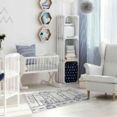 Blauwe Sens Kids Rugs Huisjes kindervloerkleed - kindertapijt - 67 x 110 cm - wasbaar - zacht - duurzame kwaliteit - speelgoed
