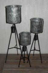 Zwarte Countryfield 3-delige metalen ronde staande zinken plantenpot