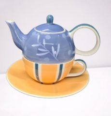 DeSfeerbrenger Tea for one set - Theeset - Keramiek - Handgeschilderd - Blauw-oranje