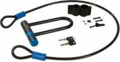 Blauwe Silverline Beugelslot met kabelset 145 x 210 mm / 10 x 1200 mm