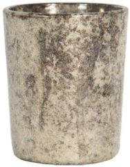 Clayre & Eef Glazen Theelichthouder 6GL2969 Ø 6*5 cm Beige Glas Rond Waxinelichthouder Windlichthouder