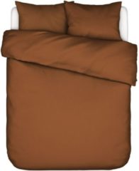 Bruine Essenza Home dekbedovertrek Minte leather brown - 1-persoons (140x200/220 cm incl. 1 sloop)