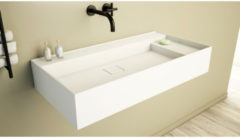 Ideavit SolidBliss Wastafel 90x45x16cm 0 kraangaten Solid surface mat wit Solidbliss-90